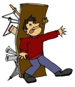 man holding full closet closed